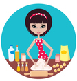 Woman prepares dough vector image