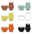 aroma tea cup pair sets of different cly types vector image