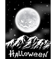 Halloween background with full Moon over mountains vector image
