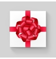 Square Gift Box with Red Scarlet Ribbon Bow vector image