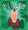 strawberry indian drink lassi with fresh juice vector image