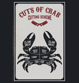 crab meat cutting cheme crab silhouette on grunge vector image