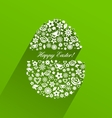 Easter egg consisting of white flowers with shadow vector image