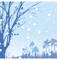 Panorama of wild coniferous winter forest vector image