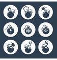 Flat bombs icons set vector image