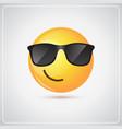 yellow smiling cartoon face wear sunglasses vector image