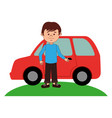 young man avatar with car character vector image