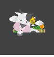 Single Cute Cow Portrait With Ear Tag vector image