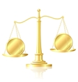 Coin outweighs another coin on scales vector image vector image