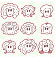 Cute smiling faces vector image