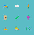 icons flat style grown bags rain field and other vector image