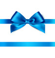 Shiny blue satin ribbon on white background vector image