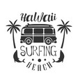 hawaii beach surfing logo template black and vector image vector image