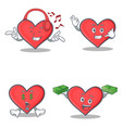 set of heart character with listening music call vector image