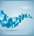 abstract blue waves cubes design on transparent vector image