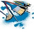 Artist brushes sketch emblem vector image