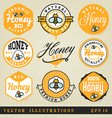Honey Labels and Badges in Vintage Style vector image