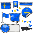Glossy icons with Asturian flag vector image