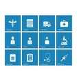 Hospital icons on blue background vector image