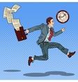 Pop Art Businessman with Briefcase Running to Work vector image