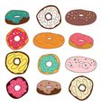 Set of cute colorful donuts vector image