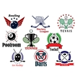 Sports team graphic emblems and banners set vector image