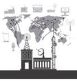 telecomunication system service international vector image