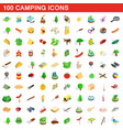 100 camping icons set isometric 3d style vector image