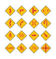 set traffic red signs vector image