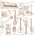 Set of isolated sketch musical instruments vector image vector image