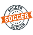 soccer round orange grungy vintage isolated stamp vector image