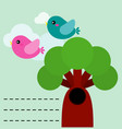 cute birds with tree vector image vector image