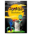 halloween party banner with zombie in cemetery vector image
