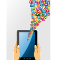 Human hands holds tablet pc with app icons vector image