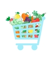 Shopping cart with fresh and natural food vector image