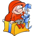 Hand-drawn of elf sitting on a gift vector image vector image