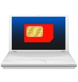 Laptop with sim card vector image vector image