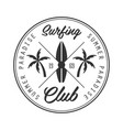 summer paradise surfing club logo template black vector image vector image