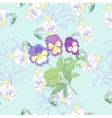 Blue Seamless pattern with flowers and pansies vector image vector image