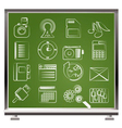 chalk business icons vector image vector image