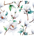 Watercolor magnolia pattern vector image
