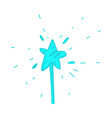 cartoon hand drawn magic wand with star vector image