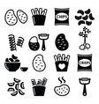 Potato French fries crisps chips icons s vector image