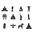 statue icon set simple style vector image