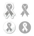 Silver ribbon - children with disabilities sign vector image vector image
