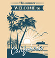 california republic poster with palm trees vector image vector image