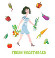 Girl and fresh vegetables card - market vector image