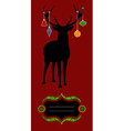 Christmas reindeer silhouette greeting card vector image