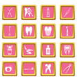 dental care icons pink vector image