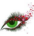 female green eye with small pink sakura flowers vector image